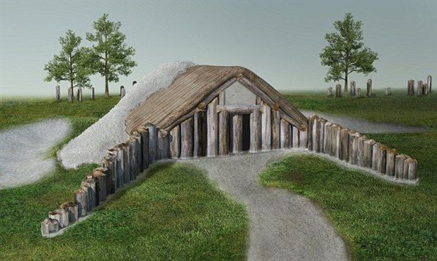 Καλλιτεχνική απεικόνιση του ξύλινου κτιρίου που εντοπίσθηκε στο υπέδαφος της περιοχής που βρίσκεται το Στόουνχεντζ και πιστεύεται ότι αποτελούσε χώρο τελετών