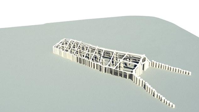 Τρισδιάστατη απεικόνιση του ξύλινου κτιρίου που χρησιμοποιούνταν όπως πιστεύουν οι ερευνητές για τελετές