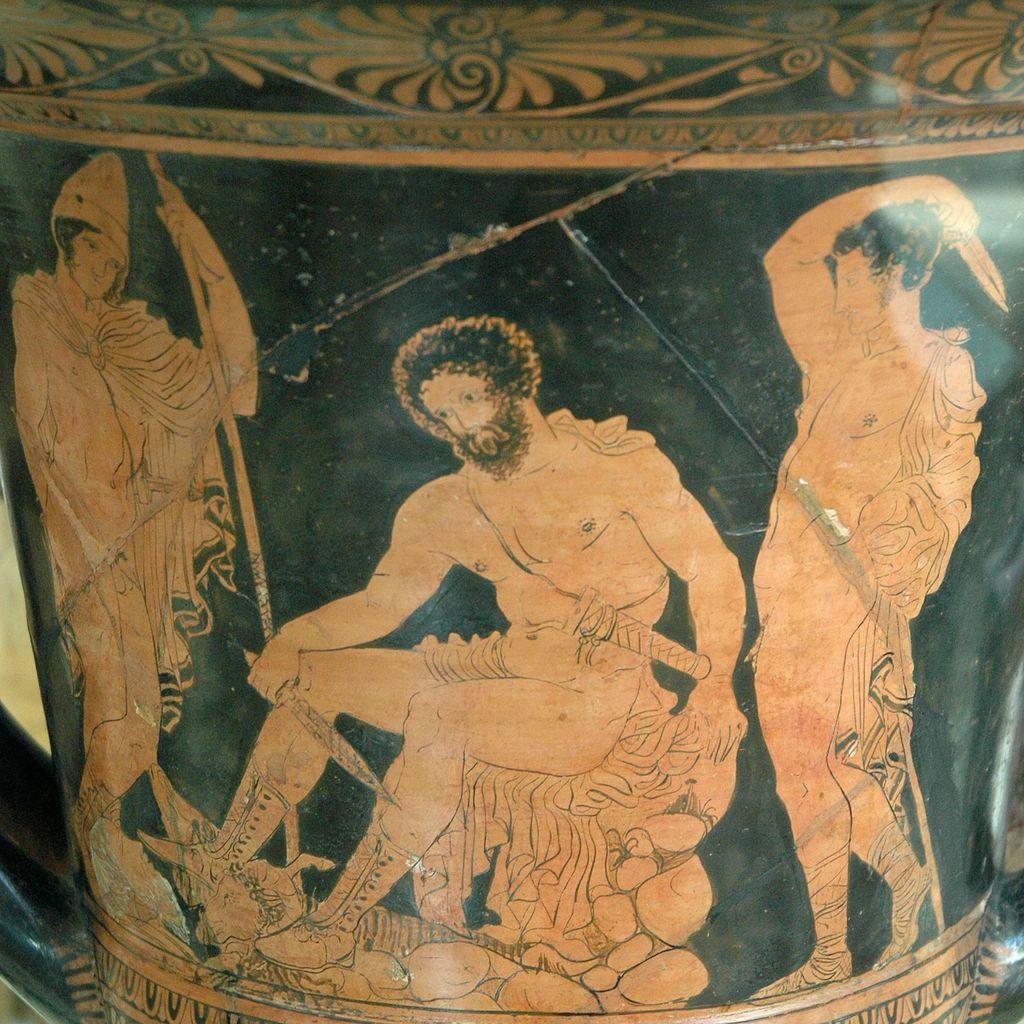 Ο Οδυσσέας και ο Τειρεσίας στον Κάτω Κόσμο. Λεπτομέρεια από ερυθρόμορφο κρατήρα